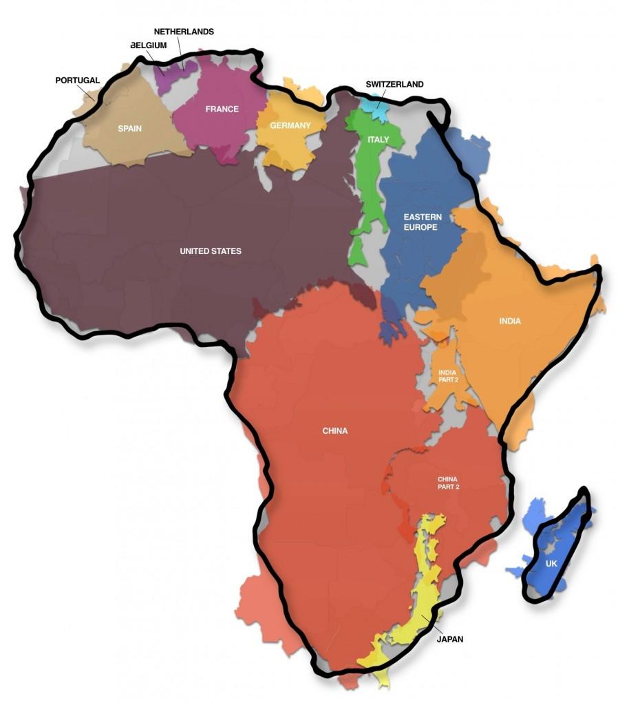Na površini Afrike mogle bi da stanu mnoge države svijeta - zajedno! SAD, Kina, Japan, Njemačka itd.
